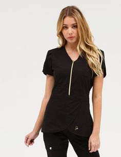 The Tulip Top in Black is a contemporary addition to women& medical scrub outfits. Shop Jaanuu for scrubs, lab coats and other medical apparel. Scrubs Outfit, Skinny Cargo Pants, Cute Scrubs, Black Scrubs, Scrub Jackets, Lace Pants, Medical Scrubs, Nursing Scrubs, Womens Scrubs