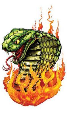 Cobra Flame-Giant Boys Temporary Tattoos Flame Tattoos, Skull Tattoos, Sleeve Tattoos, Snake Drawing, Snake Art, Cobra Tattoo, Snake Tattoo, Tattoo Care, Tattoo Set