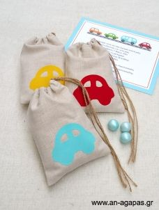 Fabric pouch favors with multi color car decoration pcs baptism bonbonniere pouch with car decor in red/well/turquize- boy shower gift Baptism Favors, Goodie Bags, Boy Shower, Gifts For Boys, Christening, Coin Purse, Pouch, Reusable Tote Bags, Sewing