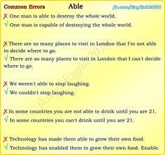 Forum | ________ English Grammar | Fluent LandCommon Errors with ABLE | Fluent Land