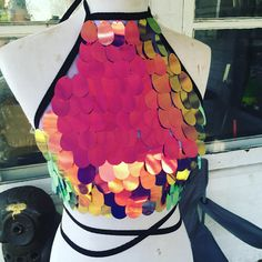 Halter Top Nebula Iridescent Sequin Crop Halter Top Rave