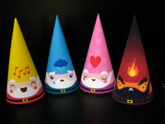 Paper. Emotions Cone Gnome Set of 4 Paper Toys from https://www.etsy.com/shop/Cutesypoo