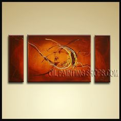 Large Modern Abstract Painting Oil Painting On Canvas For Living Room Abstract. This 3 panels canvas wall art is hand painted by Bo Yi Art Studio, instock - $154. To see more, visit OilPaintingShops.com