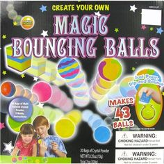 Create fun bouncing balls using vibrant colors and fun shaped molds in this Magic Bouncing Balls kit. Customize your own designs inside the mold, place in water and in just minutes, you are ready for high bouncing fun!    Kit includes:      20 Bags Multi Colored Crystal Powder    Five Molds    Instructions      Ages 6+