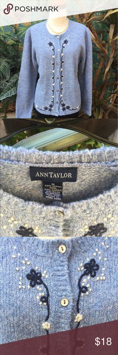 """Ann Taylor heather blue embroidered wool sweater-M """"Ann Taylor"""" heather blue button front wool sweater. Sweater features an embroidered petit flower design down the front and along the bottom front and back. Width across the chest is 20"""". Length of the sleeves from the shoulder to the cuff - 23.5"""". Length from the back of the neck to the bottom of the sweater- 23.5"""". Fabric content is 44% merino wool/ 44% acrylic/ 12% nylon. Gently pre-owned. Note; pictures 2, 4 and 5 are more true to the…"""