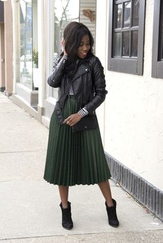 How To Wear Velvet In Spring: Velvet Midi Skirt and Bomber Jacket ...