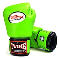 TWINS SPECIAL BOXING GLOVES GREEN COLOR PREMIUM LEATHER W/ VELCRO (16 oz.). Boxing gloves. It's an Amazon affiliate link.