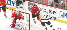 5/18/14 Kings @ Blackhawks, WCF Game 1: Dustin Brown attempts to lay a hit on Marian Hossa