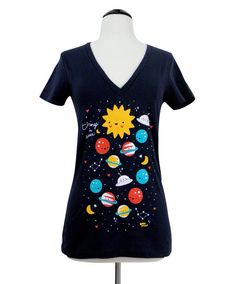 Outer Space VNeck Tshirt  Planets Sun Stars UFO by emandsprout, $19.00