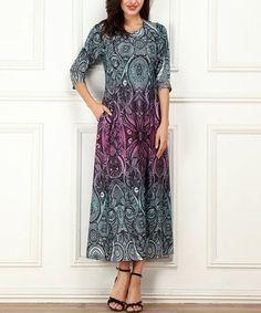 5cefb3a5a621 Turquoise & Fuchsia Floral Side-Pocket Maxi Dress - Women & Plus #