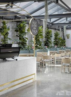 A former auto repair garage in Abbotsford has been transformed by Mim Design into – a contemporary hospitality space in the guise of a. Commercial Design, Commercial Interiors, Cafe Restaurant, Restaurant Design, Cafe Bar, Botanical Interior, Cafe Pictures, Mim Design, Design Art