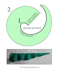 A tutorial on how to make flounces: how to draft the circular- and spiral flounce pattern and their variants and how to add flounces to a garment pattern. Pattern Drafting Tutorials, Sewing Tutorials, Dress Tutorials, Dress Sewing Patterns, Vintage Sewing Patterns, Skirt Patterns, Coat Patterns, Blouse Patterns, Sewing Basics