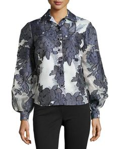 Floral+Jacquard+Button-Front+Blouse++by+Carolina+Herrera+at+Neiman+Marcus.