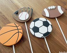 All Star Sports Shape Cake Toppers or Party Decorations baseball football soccer basketball