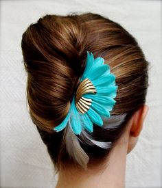 """""""A Kiss on the Chic"""" turquoise aqua hair clip with vintage earring accent"""