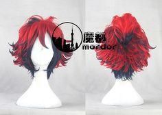 Bakumatsu Rock Ryoma Sakamoto Red&Blue Curly Anime Cosplay Wig+Wig Cap Free Shipping