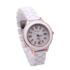 Fashion White Ceramic Wrist Watches For Women Ladies Casual Gold Bracelet Wristwatch