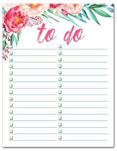 Free Printable Watercolor To Do List   Beautiful list for organizing all of your tasks. Downloads instantly. Print as many as you like.