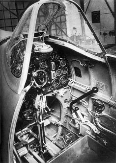 The cockpit of the Spitfire.