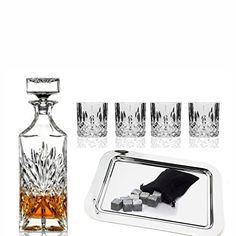 Buy Godinger Silver Art Dublin Collection Crystal Whiskey Bourbon Bar Set  With 1 Decanter, 6 Dof Glasses, 12 Granite Whiskey Stone Cubes And 1  Rectangular ...