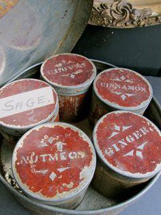 Antique Spice tins Baking Tin Spice Box .