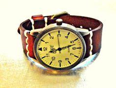 LINDBERGH  braun Lederuhr Unisex retro Armbanduhr  von Schloss Klunkerstein - Designer Schmuck Manufaktur & Armbanduhren für besondere Menschen. Naturschmuck, Geschenke, Vintage Raritäten mit Geschichte! auf DaWanda.com