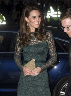 Catherine, Duchess of Cambridge arrives at the 2017 Portrait Gala at National Portrait Gallery on March 28, 2017 in London, England. (Photo by Mark Cuthbert/UK Press via Getty Images)  via @AOL_Lifestyle Read more: https://www.aol.com/article/lifestyle/2017/03/28/gorgeous-green-kate-middleton-gala-lace-gown/22015951/?a_dgi=aolshare_pinterest#fullscreen