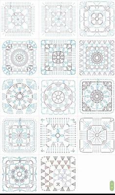 grannysquare,GrannyThrow-Transcendent Crochet a Solid Granny Square Ideas. Inconceivable Crochet a Solid Granny Square Ideas. Crochet Motifs, Crochet Blocks, Granny Square Crochet Pattern, Crochet Diagram, Crochet Chart, Crochet Squares, Love Crochet, Crochet Blanket Patterns, Crochet Afghans