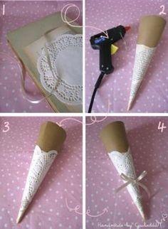 Super Easy Doily Wedding Candy Bar cones