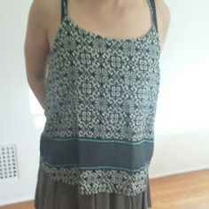 Sweet Aztec design tank top blouse Spegetti Strap, lined. Black white blue & green. 100% rayon. Preowned in perfect condition. Sans Souci Tops Tunics