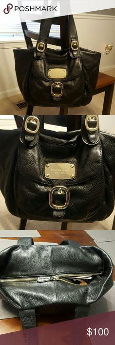 MICHAEL KORS HANDBAG- BUTTER SOFT! Beautiful, preloved bag in great condition. NO tears or damage to any part of the bag.  It is a large bag with a generous outside pouch that closes with a magnitized button.  It has a very roomy black Michael Kors heavy wt lining.  Consists of 4 slip pockets with leather edges and a large zippered pocket.  Gold-tone hdware. Purse closes from the top with a heavy duty zipper w/MK tag.  The marked value of the bag is approximate bc i cant remember the…