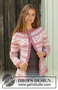 Free knitting patterns and crochet patterns by DROPS Design Knitting Machine Patterns, Sweater Knitting Patterns, Knit Patterns, Drops Design, Motif Fair Isle, Fair Isle Pattern, Wrap Pattern, Jacket Pattern, Fair Isle Knitting