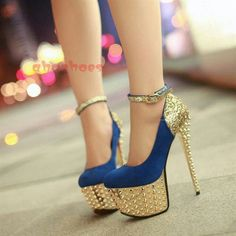blue golden stiletto high heels pumps women shoes fashion http://www.womans-heaven.com/blue-golden-heels/