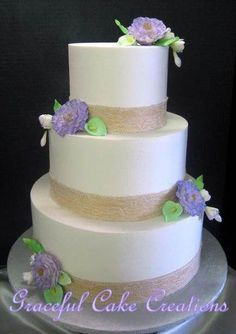 Simple and Elegant Ivory Butter Cream Wedding Cake with Burlap and Lace Ribbon accented with Lavender Peonies, Freesia and Mint Green Calla Lilies Cream Wedding Cakes, Elegant Wedding Cakes, Cool Wedding Cakes, Trendy Wedding, Wedding Favors Cheap, Simple Wedding Invitations, Green Wedding Decorations, Wedding Mint Green, Calla Lily