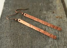 Hammered copper earrings stick style dangle by JudysDesigns