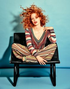 Jessica Chastain takes a seat in Missoni top and pants with Gianvito Rossi sandals for The Edit Magazine December 2016