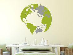 3D Weltkarte als Globus an der Wand | Wandtattoo Weltkugel mit 3D-Effekt