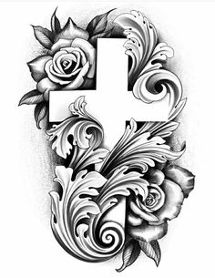 Half Sleeve Tattoos Drawings, Wolf Tattoo Sleeve, Half Sleeve Tattoos Designs, Cross Tattoo Designs, Cross Tattoos, Half Sleeve Tattoo Stencils, Clock Tattoo Design, Tattoo Design Drawings, Tattoo Sketches