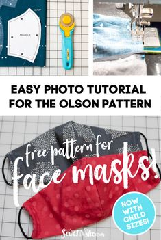 Simple step by step tutorial for the olson mask pattern - including child sizes sewcanshe free sewing patterns and tutorials. Sewing Patterns Free, Free Sewing, Sewing Tutorials, Free Pattern, Sewing Projects, Pattern Sewing, Free Tutorials, Sewing Tips, Clothes Patterns
