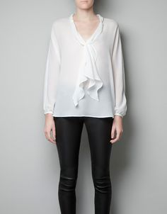 ZARA V-NECK BLOUSE WITH COLLAR SCARF $59.90