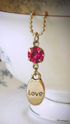 Fuchsia Pink Rhinestone Sentiment Necklace Love