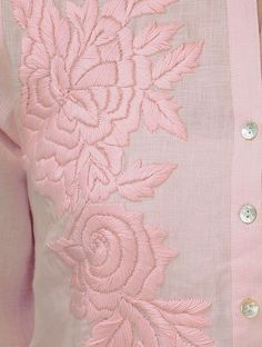 Pink Roll-Up Sleeve Hand Embroidered Linen Kurta Zardozi Embroidery, Embroidery On Kurtis, Hand Embroidery Dress, Kurti Embroidery Design, Hand Embroidery Videos, Embroidery On Clothes, Hand Embroidery Stitches, Hand Embroidery Designs, Embroidery Techniques