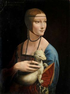 Lady with an Ermine displayed at the Leonardo Opera Omnia, celebrating the Italian master and renaissance man Leonardo da Vinci, where some of his masterpieces are reproduced using sophisticated digital techniques. Leonardo Paintings, Famous Art Paintings, Famous Artwork, Classic Paintings, Renaissance Kunst, Renaissance Paintings, Lady With An Ermine, Art Ancien, Historical Art