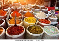 Indian colored spices at Anjuna flea market in Goa, India - stock photo
