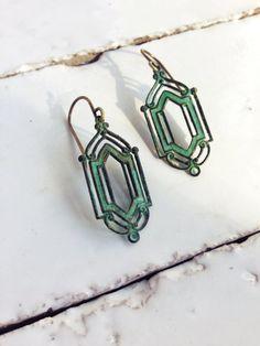 Art Deco Earrings Verdigris by CircaAD on Etsy, $19.00