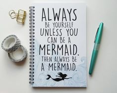 Schreiben Journal, Spiralblock, Kugel Journal, niedliche Zeitschrift Skizzenbuch, gefütterte Gitter - immer selbst zu sein, es sei denn, Sie können eine Meerjungfrau