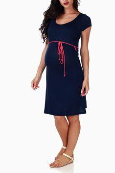 Navy Blue Belted Basic Maternity Dress