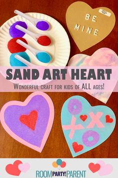 The perfect Valentine's Day craft for your kid's school party! Room Party Parent makes this craft so easy to do and allows children to create one-of-a-kind designs. Older grade-schoolers will have fun adding words, messages, and shapes. Be prepared for the kids to ask to do more than one! Valentines Day Party, Valentines For Kids, Valentine Day Crafts, Party In A Box, Sand Art, School Parties, Party Planning, More Fun, Crafts For Kids