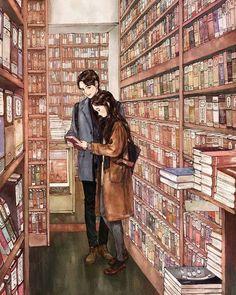 "10.4k Likes, 109 Comments - 애뽈 (@_aeppol) on Instagram: ""오늘 그가 나에게 책 한 권을 권해 주었다. #일러스트 #일러스트레이션 #서점 #책 #소녀 #독서 #사랑 #설렘 #코트 #겨울 #illust #illustration…"""