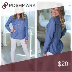 BNWT Denim Chambray Button Up Top This a BNWT size small denim chambray button up top. Buttons are snap closure. Shirt by Sneak Peek. Reposh from the lovely Susan Canon @scanon. PRICE FIRM UNLESS BUNDLED Sneak Peek Tops Button Down Shirts